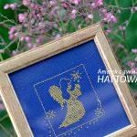 Aniołek z gwiazdką | wyszywany haftem krzyżykowym | upominek na chrziny lub komunię