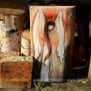 anioł szczerości, szczerośc, anioł malowany na deseczce, anioł na desce, prezent dla przyjaciela, szczerość