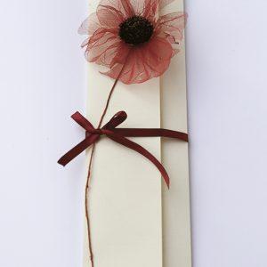 """Ręcznie robione zaproszenia ślubne """"CZERWONE MAKI"""" z czerwonym przestrzennym kwiatkiem"""