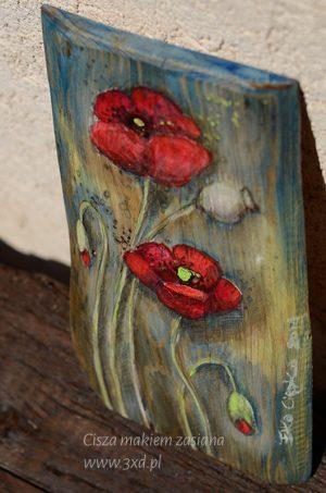 """Obrazek ręcznie malowany - na prezent lub jako podziękowanie dla Rodziców - """"Cisza makiem zasiana"""" Autor: Elka Ciępka"""
