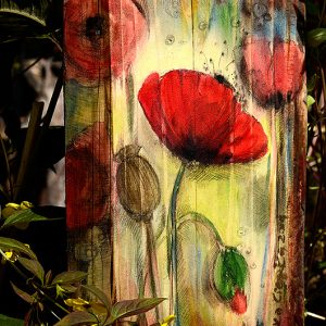 Maki o brzasku dnia - malowane na drewnie