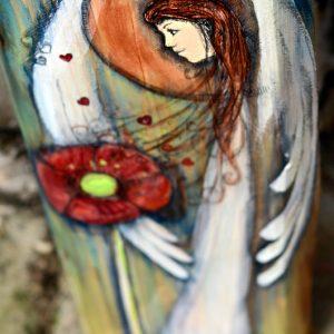 Anioł Pięknych Uczuć może być podarowany każdemu, wobec kogo żywimy piękne uczucia  Angel painted on wood