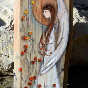 Anioł Jesiennej Refleksji pobudza do przemyśleń i zadumy. Może być anielskim prezentem dla każdego, kto potrzebuje refleksyjnego Anioła.  Angel painted on wood