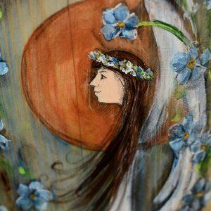 Anioł Niezapominajkowy   Ręczne malowanie na drewnie   Prezent dla tego, o kim nie zapomnieliście  Angel painted on wood