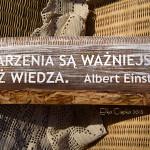 """sentencja Alberta Eisteina malowana na postarzanej desce """"Marzenia są ważniejsze niż wiedza"""""""
