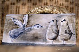 Ptaki Nieloty   Obrazek ręcznie malowany na drewnie   Prezent dla rodziny lub małżeństwa spodziewającego się potomstwa