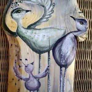 Ptaki Koloraki | Obrazek ręcznie malowany na drewnie | Prezent dla młodego małżeństwa lub na rocznicę ślubu | autor: Elka Ciępka