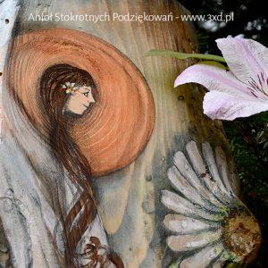 Anioł Stokrotnych Podziękowań, Obrazek ręcznie malowany na desce, podziękowania dla Rodziców na weselu  Angel painted on wood
