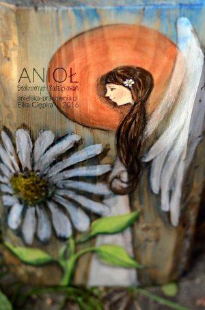 Anioł Stokrotnych Podziękowań   Obrazek ręcznie malowany na desce   Oryginalna forma podziękowania dla Rodziców na weselu od Pary Młodej