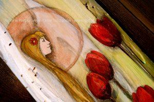 """""""Anioł w Purpurowym Łanie Tulipanów"""" energetyzującym prezentem dla każdego kochającego naturę i kwiaty"""