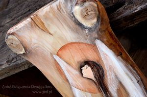 """""""Anioł Połączenia Dwojga Serc"""" może być doskonałym wyrażeniem wdzięczności dla Rodziców  Angel painted on wood"""