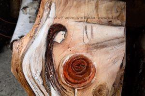 Anioł w Promiennym Blasku   Anioł ręcznie malowany na drewnie   Prezent dla tego, komu potrzeba Anielskiego promienia