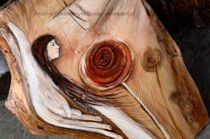 Anioł w Promiennym Blasku   Anioł ręcznie malowany na drewnie   Prezent dla tego, komu potrzeba Anielskiego promienia  Angel painted on wood