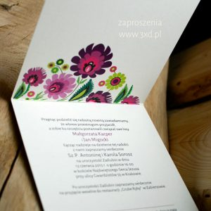 Zaproszenie ślubne - ŁOWICKA WYCINANKA