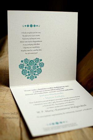 Zaproszenie ślubne z TURKUSOWYM SERDUCHEM FOLKOWYM