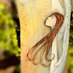 Anioł Rozświetlonych Myśli | Ręcznie malowany na drewnie | Podsuwa wyłącznie pozytywne i optymistyczne myśli
