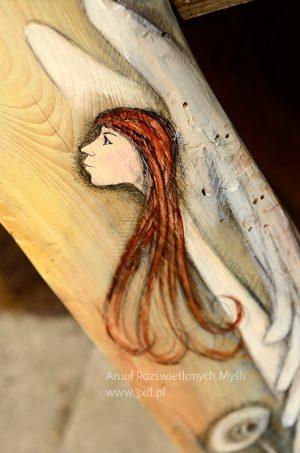 Anioł Rozświetlonych Myśli   Ręcznie malowany na drewnie   Podsuwa wyłącznie pozytywne i optymistyczne myśli