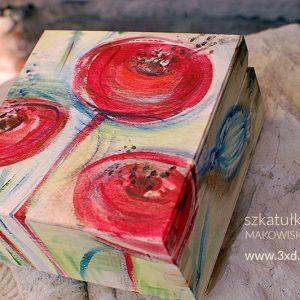 """SZKATUŁKA drewniana """"makowisko"""" ręcznie malowana w stylizowane maki - autor Elka Ciępka"""