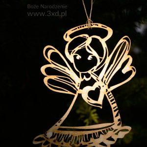 Aniołek ażurowy ze sklejki drewnianej, z zawieszką, wycięty laserowo, do zawieszenia na choince lub dekoracji domu