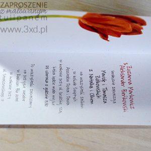 Zaproszenie MALOWANE z TULIPANEM zostało zaprojektowane w oparciu o obraz namalowany przez Elkę Ciępkę
