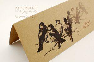 Zaproszenie ślubne VINTAGE z ptaszkami