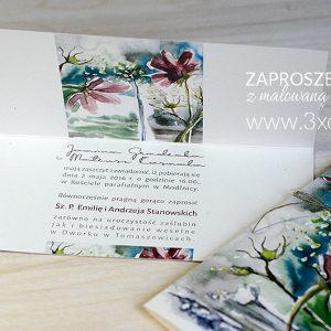 Zaproszenie z MALOWANĄ ŁĄKĄ zostało zaprojektowane w oparciu o akwarelę autorstwa przez Elki Ciępki
