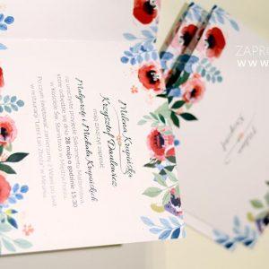 Zaproszenie akwarelowe - LETNIA ŁĄKA z makami