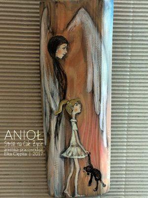 """""""Anioł Stróż na Całe Życie"""" przedstawiony w towarzystwie dziecka z misiem jest doskonałym prezentem na Chrzciny lub Komunię Świętą"""